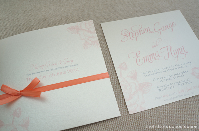 Coral Rose Foldout Perforated Invitation The Little Touches